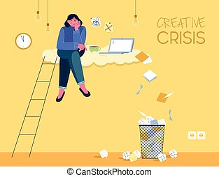 Vector illustration shows a girl who has lost inspiration ...
