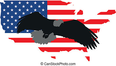 Vector illustration silhouette eagle and America