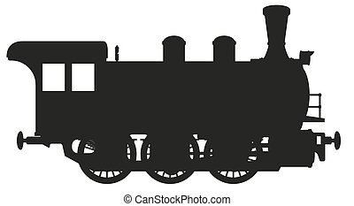 vector illustration silhouette of a steam locomotive isolated on white background
