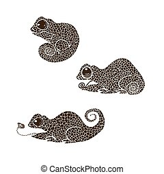 vector illustration silhouette of chameleon. Set of chameleons made in one color under the stencil