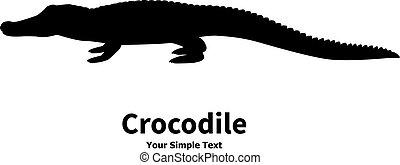 Vector illustration silhouette of crocodile - Vector...