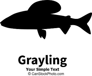 Vector illustration silhouette of grayling