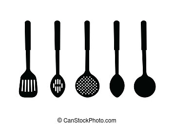 Vector illustration silhouette of kitchen ware are isolated ...
