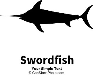 Vector illustration silhouette of swordfish