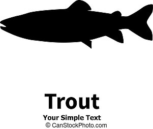 Vector illustration silhouette of trout