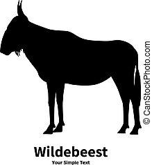 Vector illustration silhouette of wildebeest