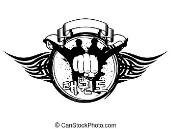 Vector illustration silhouette taekwondo martial, fist and hieroglyph tae kwon do