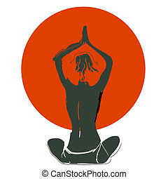 Vector illustration: Silhouette young woman practicing yoga on the beach at sunset.