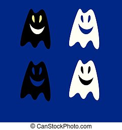 Vector illustration silhouettes of ghosts in the Halloween holiday