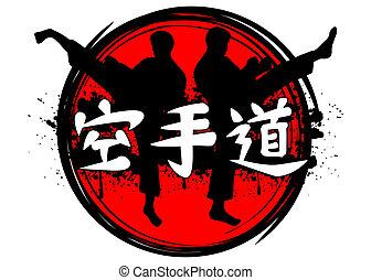 karate - Vector illustration silhouettes of karatekas and...