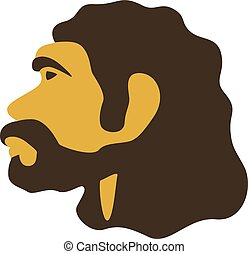 Simple caveman head icon. Neardenthal or cro-magnon ...