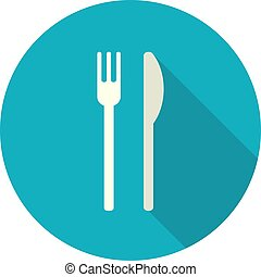 Vector Illustration. Simple Flat Design Icon with Cutlery.