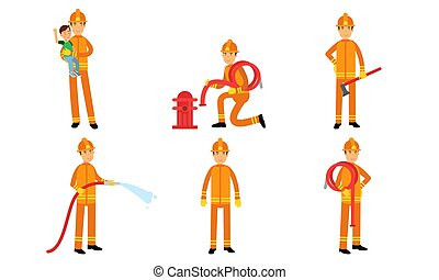 Vector Illustration Sit With Cartoon Characters Of Firefighters In Action Poses