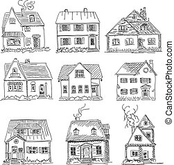 Vector illustration sketch of houses. - Set of vector...