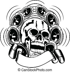 skull and loudspeakers - Vector illustration skull and...