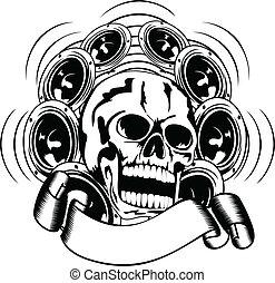 skull and loudspeakers