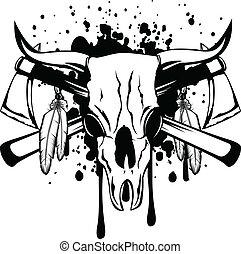 skull bull and crossed axes - Vector illustration skull bull...