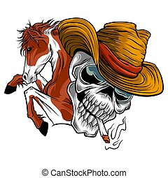 vector illustration skull cowboy ride a horse