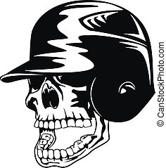 skull in baseball helmet