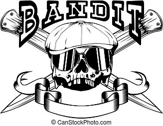 Vector Illustration Skull In Cap With Sunglasses And Crossed Knifes Inscription Bandit For Tattoo Or T Shirt Design