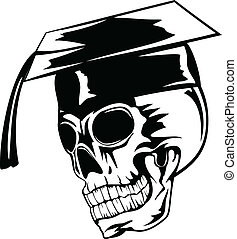 skull in graduation cap - Vector illustration skull in...