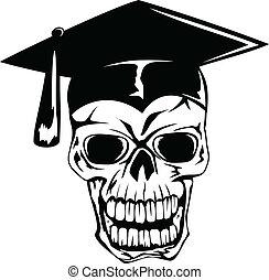 skull in graduation cap