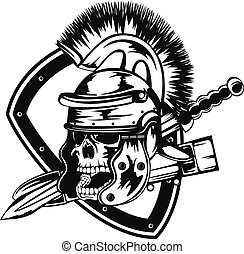 skull in legionary helmet - Vector illustration skull in...