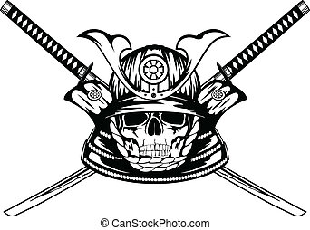 skull in samurai helmet and crossed katanas - Vector...