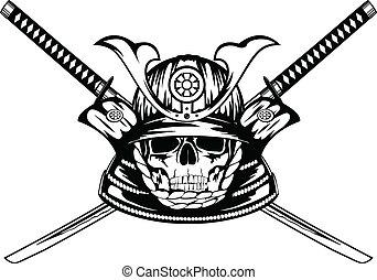 skull in samurai helmet and crossed katanas