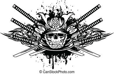 Vector illustration skull in samurai helmet and crossed samurai swords