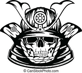 Vector illustration skull in samurai helmet