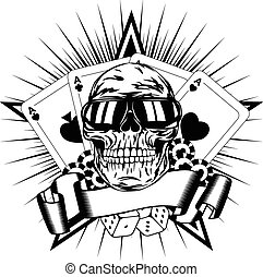Vector illustration skull in sunglasses playing cards dice chips
