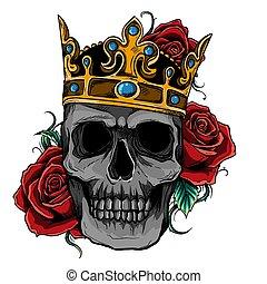vector illustration skull wearing a king crown