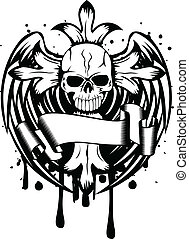 skull with cross and wings