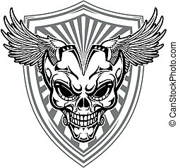 skull with wings - vector illustration skull with wings and...