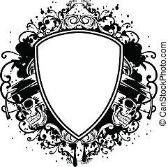 skulls in graduation cap and shield - Vector illustration ...