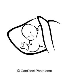 Sleeping baby. Black and white illustration of a baby ...