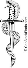 snake and dagger - Vector illustration snake and dagger