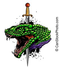Vector illustration snake head with knife art