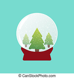 Snowball with flying snow and fir trees