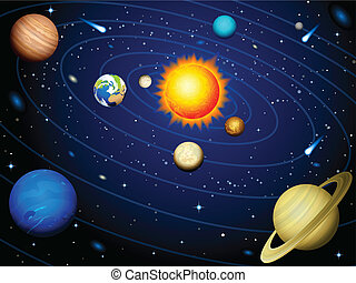 Solar system - Vector illustration - Solar system background