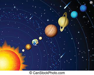 Solar system - Vector illustration - Solar system background