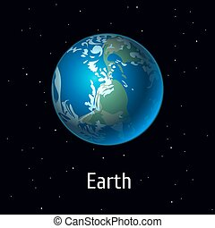 Vector illustration Solar System object, Earth Planet on space background