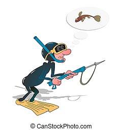 vector, illustration., speargun., buzo, spearfishing