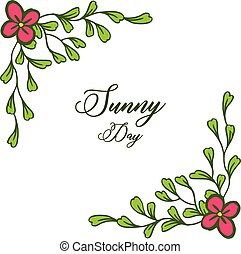 Vector illustration spring card of sunny day with various wreath frame
