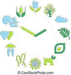 Spring time. Activities icons in a watch sphere with hours.