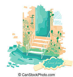 Vector illustration. Stairs leading to the door
