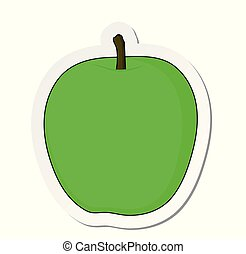 Vector illustration, sticker of green apple fruit with a tale in flat cartoon style isolated on white background