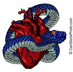 Vector illustration stylized heart with a snake