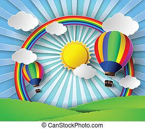 Vector illustration sunlight on cloud with hot air balloon.